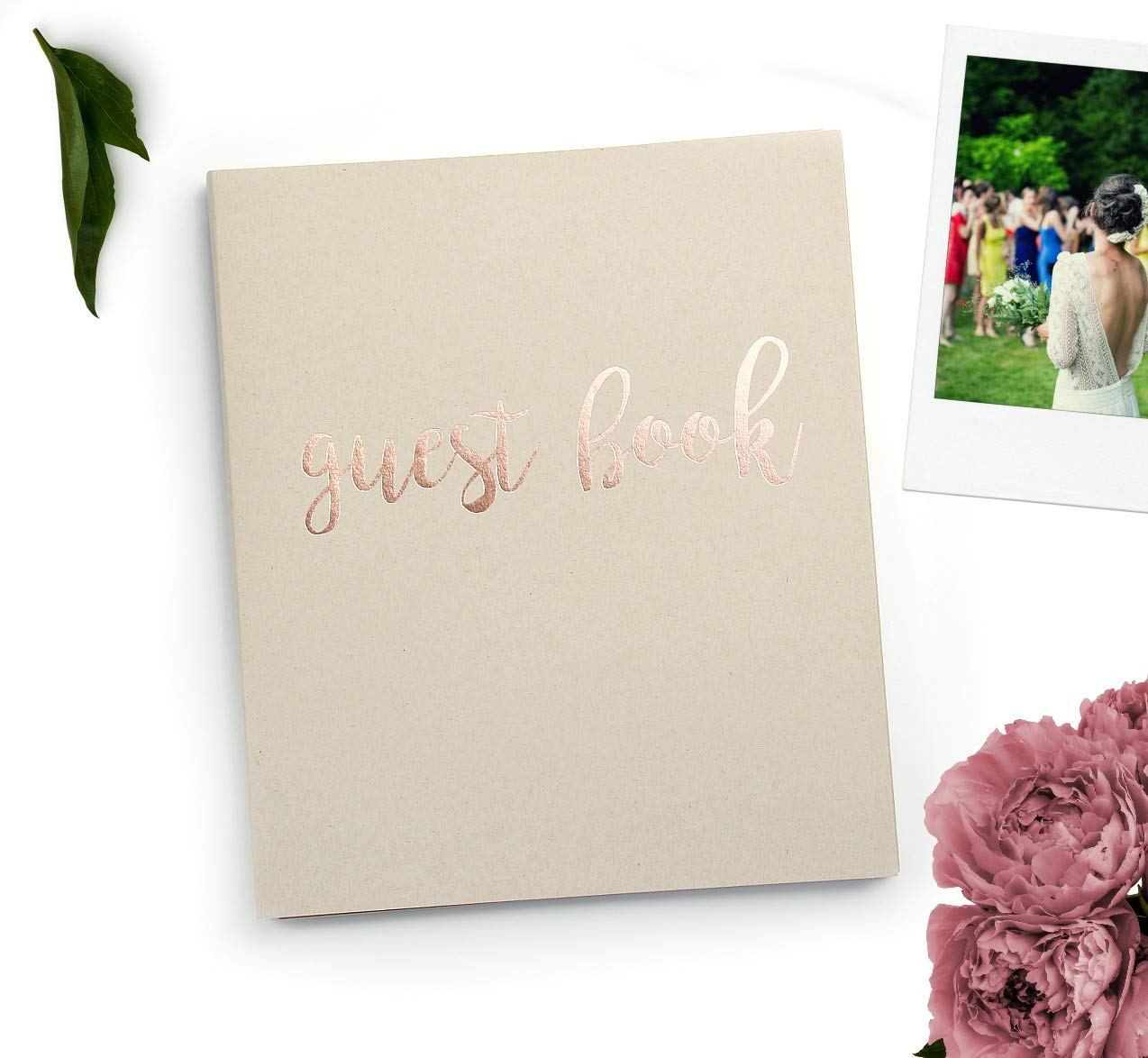 Guest Book Wedding Guest Book Alternative. 8.5'' x 7'' Flat-Lay Softcover, 130 pgs, Kraft Cardstock Softcover w/Rose Gold Foil. Rustic Wedding Guestbook, Photo Guest Book Instax Guest Book (Sand)