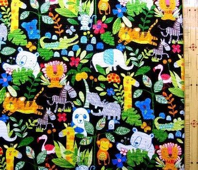 プリント生地・ジャングル アニマル(黒) (動物 パンダ ゾウ ライオン トラ ワニ クマ キリン サル コアラ かわいい おしゃれ 男の子 女の子 子供 入園 入学 ピロル)