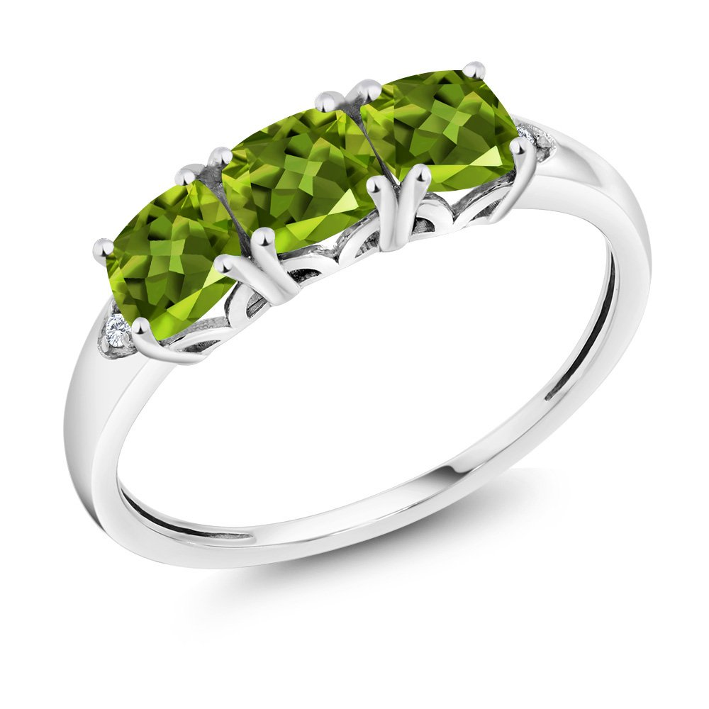 10K White Gold 1.81 Ct Cushion Green Peridot and Diamond 3-Stone Ring (Available in size 5, 6, 7, 8, 9) by Gem Stone King