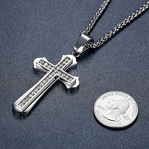 Aoiy - Collier avec pendentif hommes - Acier Inoxydable - ont bourgeonné Croix, Crystal, chaîne 61cm, ddp051yi