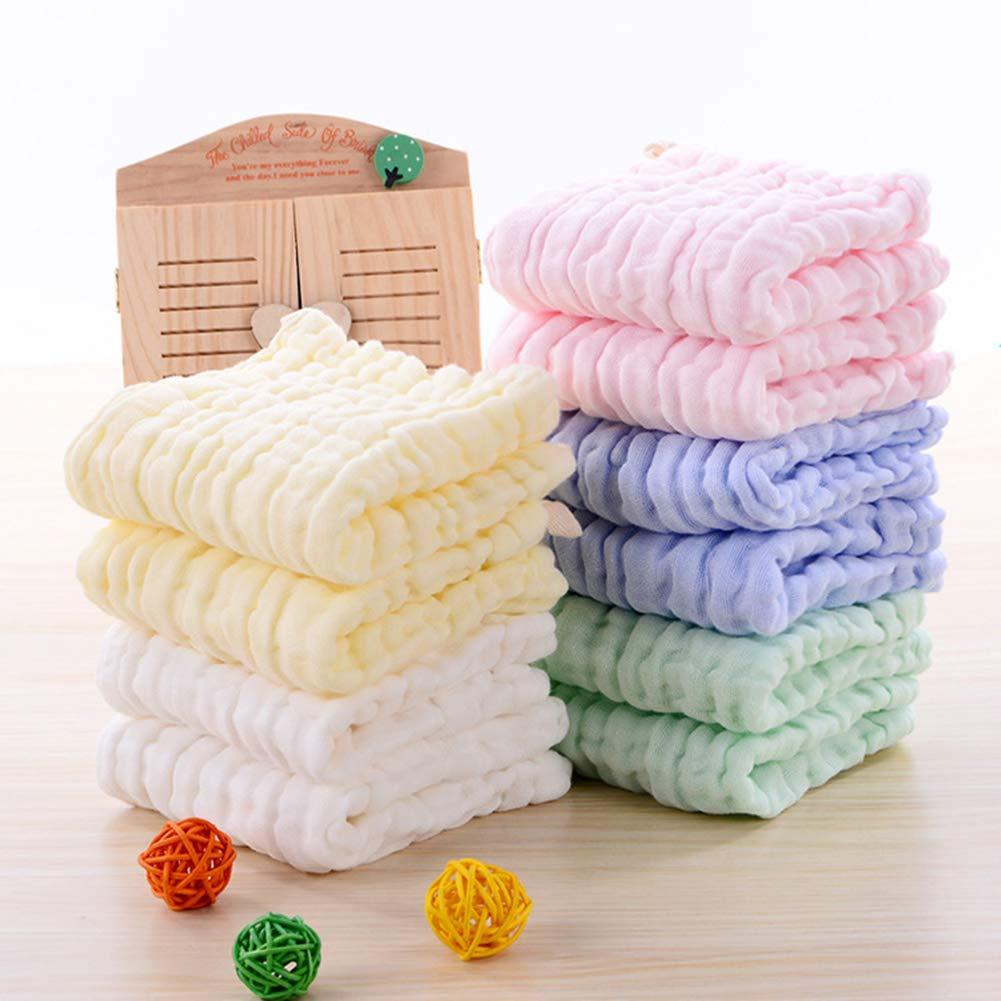 Leepem baby Toallitas de algod/ón para beb/é con muselina natural multicolor, paquete de 10 Toallitas para beb/é de muselina Toalla suave para beb/é reci/én nacido para pieles sensibles