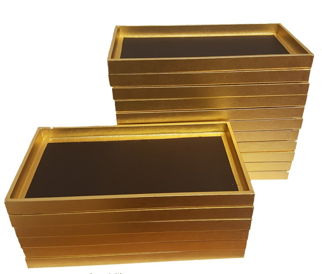 888 Display Large Jewelry Display Rolling Carrying Case w/17 Trays (Shiny Textured Gold) by 888 Display USA (Image #2)