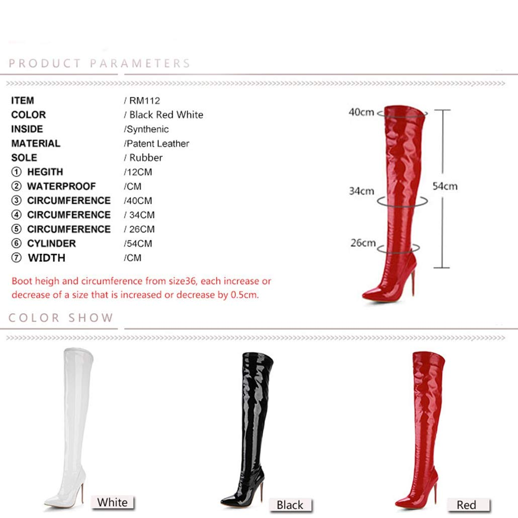 b47a1f6a3c2 Amazon.com  ODOKAY Women s Long Boots Thigh High Stiletto Boots Sexy Over  The Knee Boots Patent Leather Fashion Shose  Sports   Outdoors