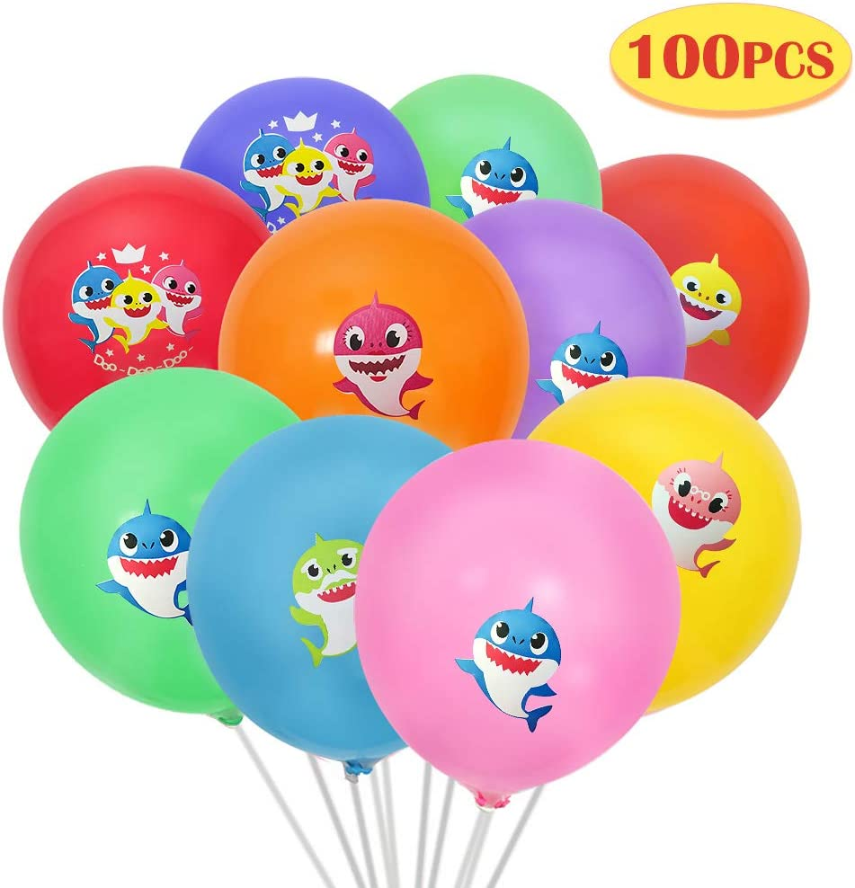 Tinabless Baby Cute Shark Party Supplies, 12 Inch 100 Count Premium Balloons, Balloons for Shark Theme Birthday Party Decorations