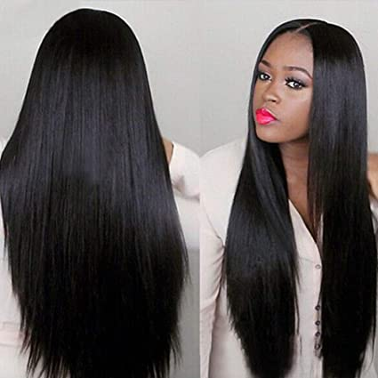 Hot Sale Women Long Wig Fashion Black Straight Natural Hair Cosplay Synthetic Full Wigs Costume Black