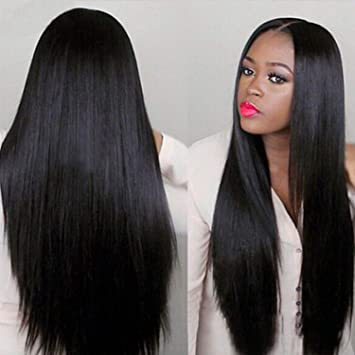 Hot Sale! Women Long Wig,Fashion Black Straight Natural Hair Cosplay  Synthetic Full Wigs Costume (Black)