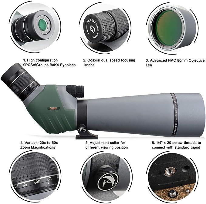 Gosky 20 60 X 80 Dual Focusing Ed Spektiv Ultra High Kamera
