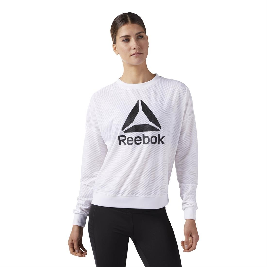 Reebok Wor Mesh Crew Neck Sudadera, Mujer: Amazon.es: Deportes y aire libre