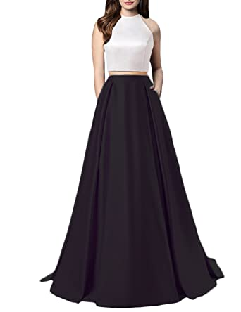 3fe29b57f930 Women Sexy Satin Two Piece Prom Dress Long Pockets Halter Open Back Evening Formal  Gown Black