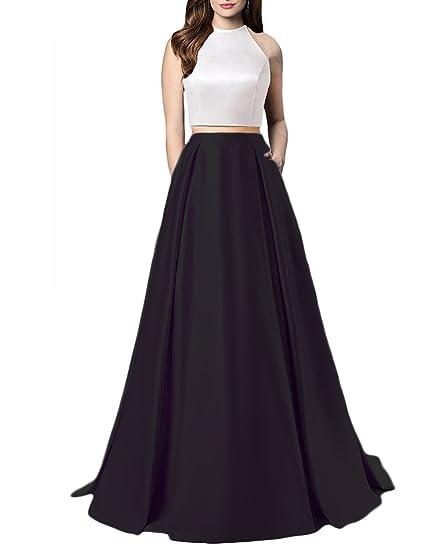 Monabridal Women Sexy Satin Two Piece Prom Dress Long Pockets Open
