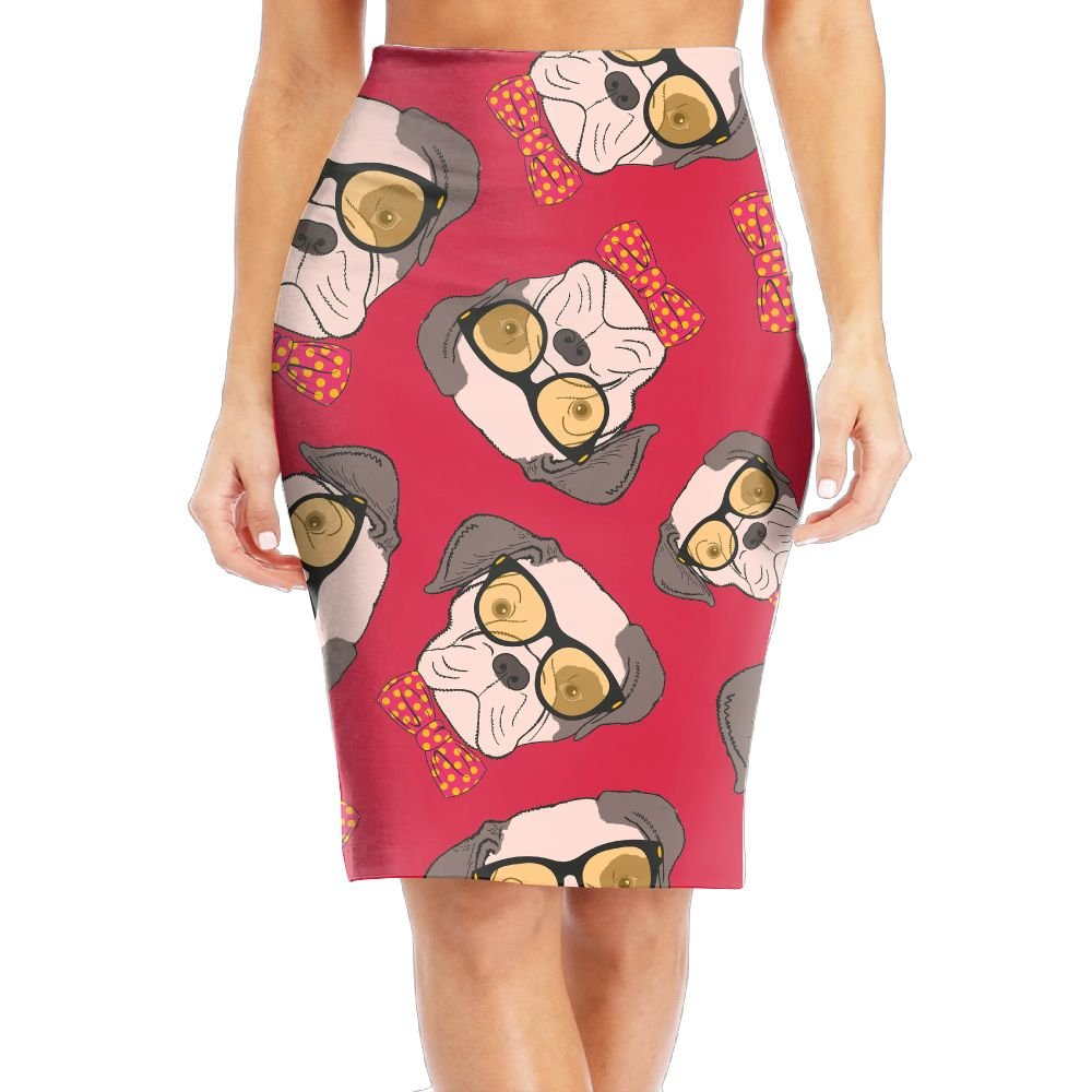 DFGDF Skirt Pet Dog With Sunglasses Gift Womens Knee Length Floral Print Stretch Pencil Skirt