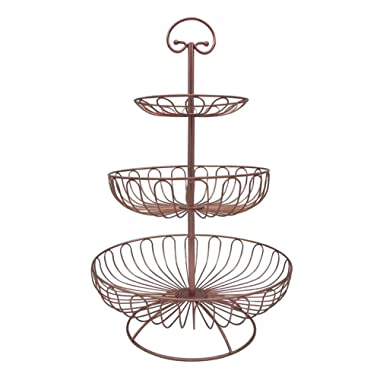 3 Tier Metal Wire Fruit Vegetable Basket Tower Decorative Fruit Basket Countertop Stand Kitchen Counter Produce Organizer with Top Handle (Bronze Pink)