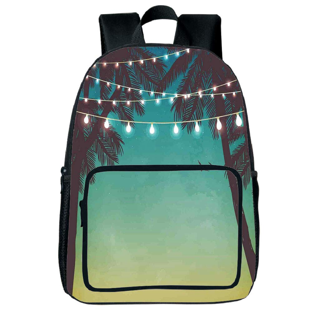 "Light Weight Loss Square Front Bag Backpack,Apartment Decor,Night Time Beach Sunset with Little Lantern and Island Palm Trees Art Print,Multicolor,for Children,Print Design.15.7""x 11.8""x 6.3"""