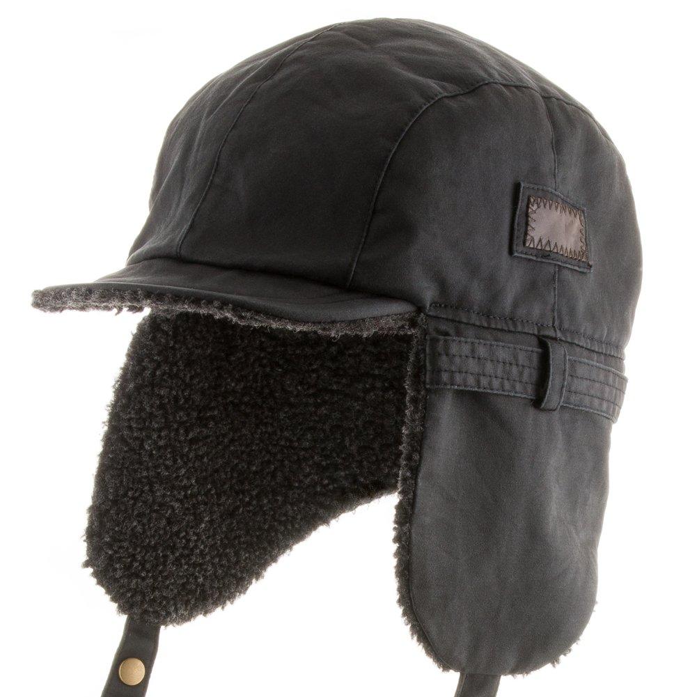 Ultrafino Best Pilot Trooper Aviator Cap Faux Leather Hat Ushanka Trapper Black 7 5/8