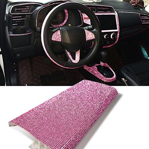 YGMONER Pink 9000pcs Bling Rhinestone 9.4 x 7.9'' DIY Car Decor Sticker