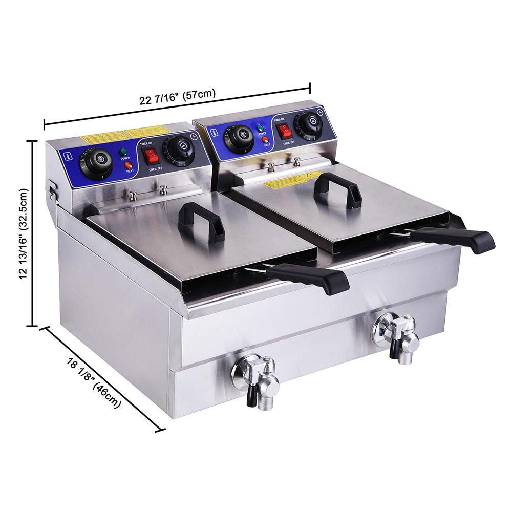 Amazon.com: PNR Commercial Electric 23,4 L Freidora Doble ...
