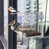 Pevor Bird Feeder House - 3 Suction Cup Peanut Seeds & Perch Hangers for Wild Finch, Thistle, Hummingbird Window Birdhouses with Scratch Resistant Acrylic