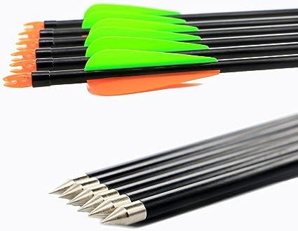 12 Stück Bogenschießen-Fiberglas-Pfeile recurve die Jagd des Bogens im Freien