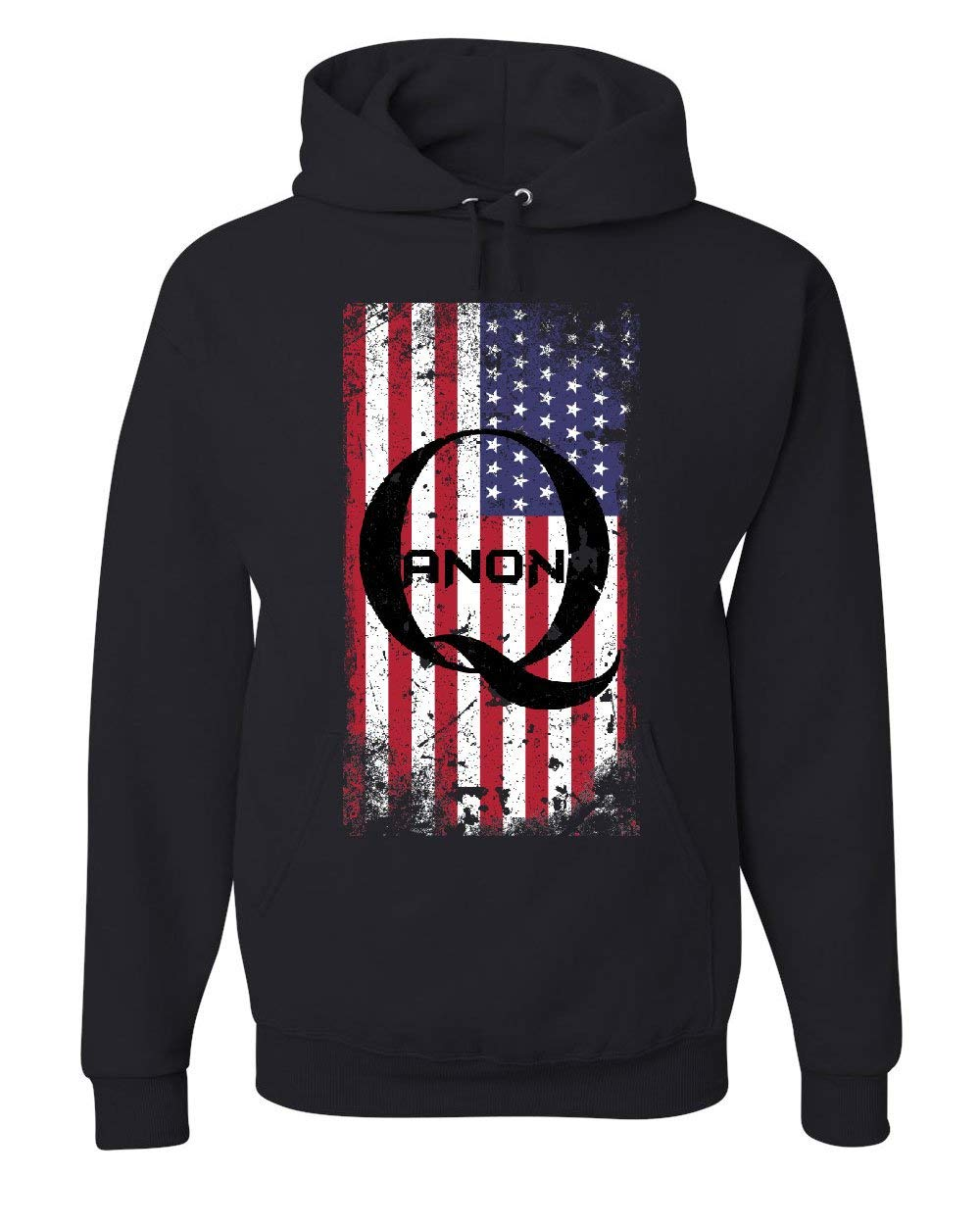 Distressed American QANON Flag Hoodie The Great Awakening...