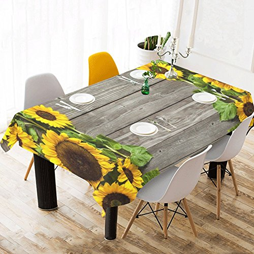 InterestPrint Autumn Sunflowers Wood Pattern Tablecloth Table Cover Cotton Linen Rectangle Home Decor for Dining Room, Tea Table, Picnics, Parties, 60 x 120 Inch