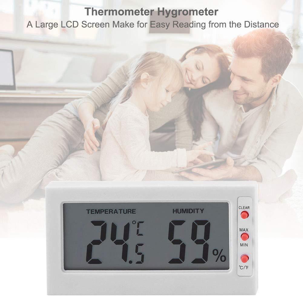 Aramox Termómetro Higrómetro Digital Medidor de Humedad y Temperatura con Gran Pantalla LCD Registro máximo/mínimo ℃ / ℉(Blanco): Amazon.es: Hogar