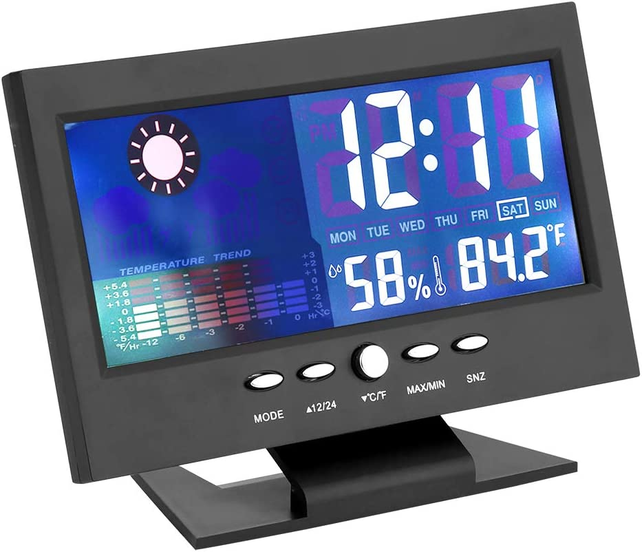SH-RuiDu Portable LCD Digital Temperature Humidity Meter Clock Alarm Comfort Level Weather Forecasts Calendar for Home