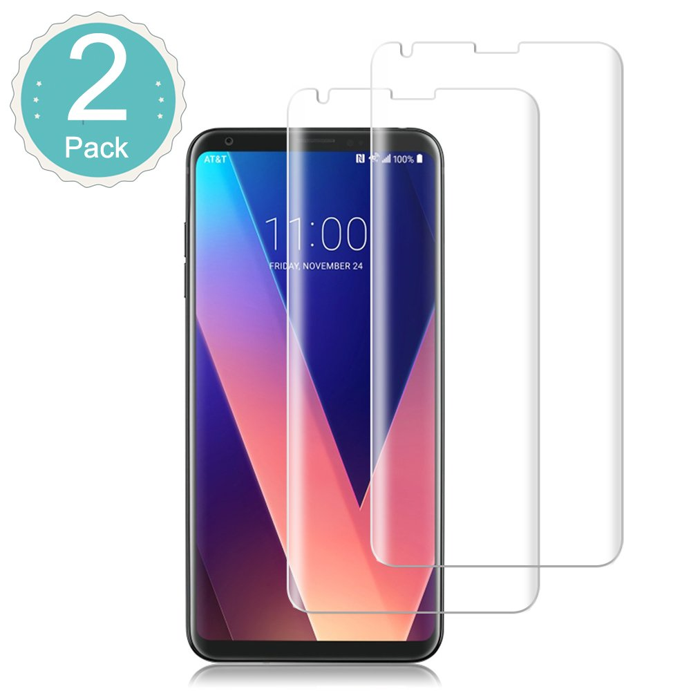 [2 Pack] LG V30 Tempered Glass Screen Protector Loopilops [Bubble-Free][Anti-Scratch][Anti-Fingerprint] 9H Hardness Ultra HD Clear Film [Case-Friendly] Screen Protector for LG V30/V30+/V30 Plus/V35