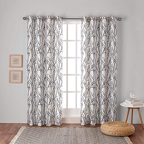 Exclusive Home Branches Linen Blend Grommet Top Curtain Panel Pair, Indigo, 54x84, 2 Piece