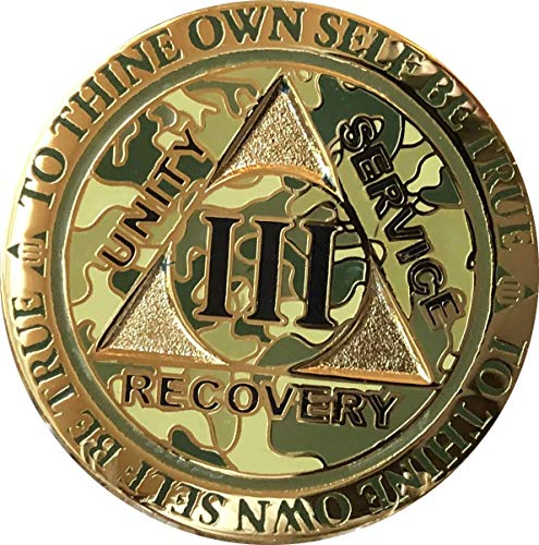 - RecoveryChip 3 Year AA Medallion Reflex Camo Gold Plated Camouflage Color Chip III
