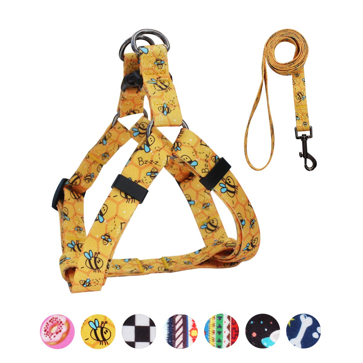 QQPETS Dog Harness Leash Set, Adjustable Heavy Duty No Pull Halter Harnesses for Large, Medium, Small Breed Dogs, Back Clip, Anti-Twist, Perfect for Walking (S(14''-20'' Chest Girth), Yellow Bee)