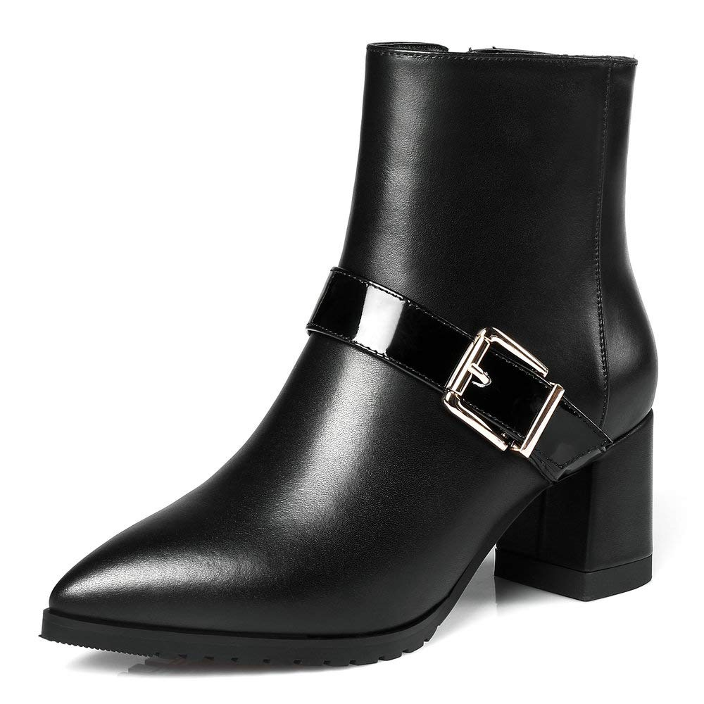 bc1745e8ad810 Amazon.com | Block Heel Ankle Boot Women Genuine Leather Pointed Toe Buckle  Strap Side Zipper Chelsea Booties Black Plus Size | Ankle & Bootie