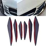 ZHUOTOP 6Pcs Carbon Fiber Style Car Front Bumper Lip Splitter Body Spoiler Canards