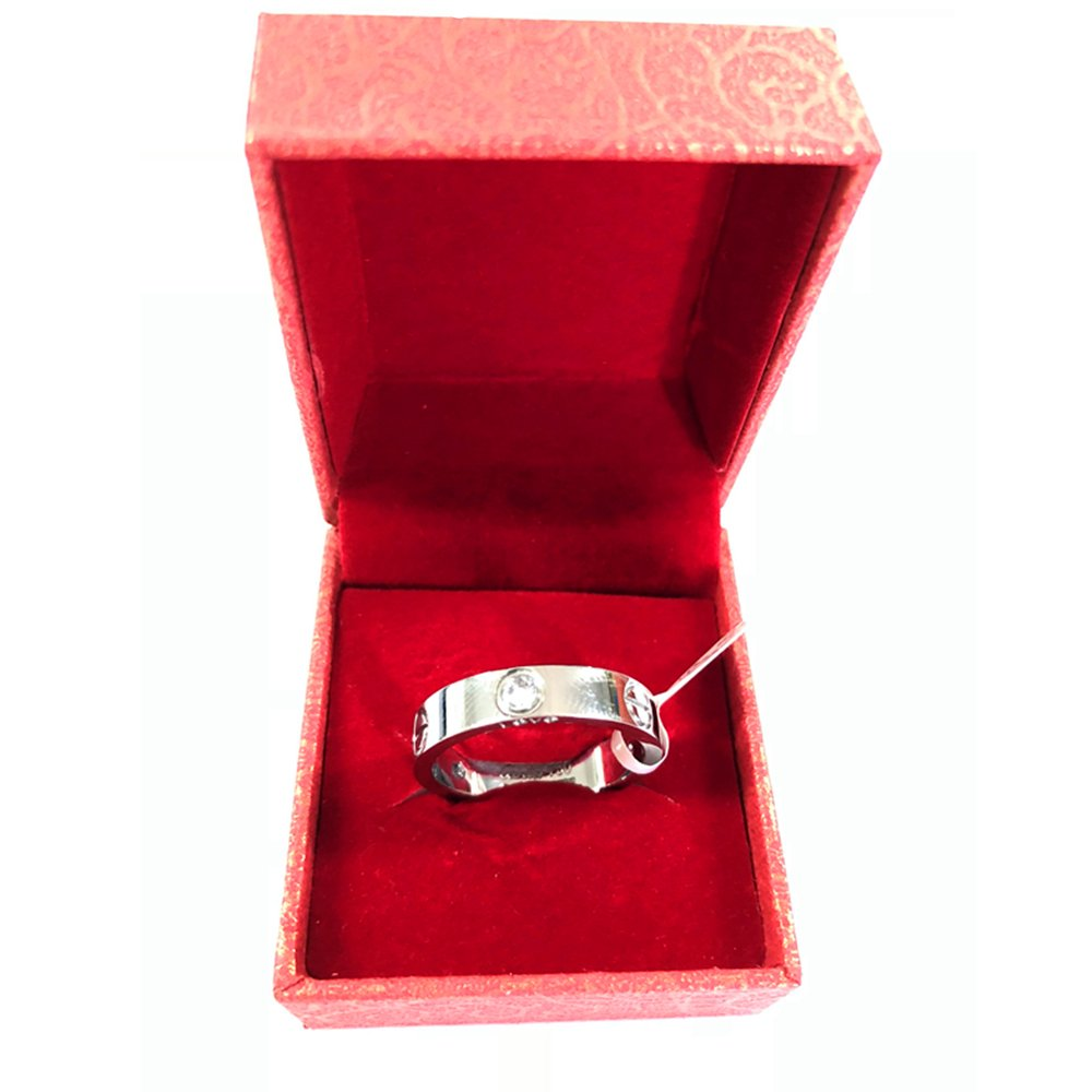 Frederic Wilkins Love Zirconia Ring - Titanium Steel Unisex Adult Fashion Lovers Silvery Ring(Size:5-10) (Silver, 7) by Frederic Wilkins (Image #4)