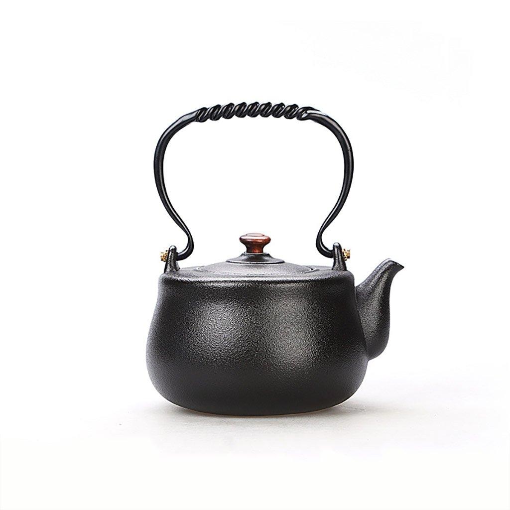 YONGJUN セラミックティーポット1500mlのケトル、霜テクスチャ、ナチュラルバンブーハンドル、オリエンタルスタイル、家庭用ケトルティー、禅茶セット B07D5XL6NJ