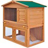 vidaXL Outdoor Rabbit Hutch Small Animal House Pet Cage 3 Doors Wood Run