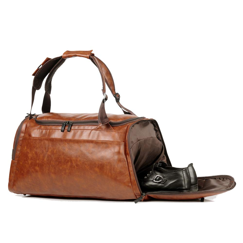 Leather Duffel Bag | Large Capacity Weekend Overnight Travel Gym Sport Luggage Tote for Men and Women – By (YOUR BRAND NAME) (vintage brown) by sdiyabolo (Image #2)