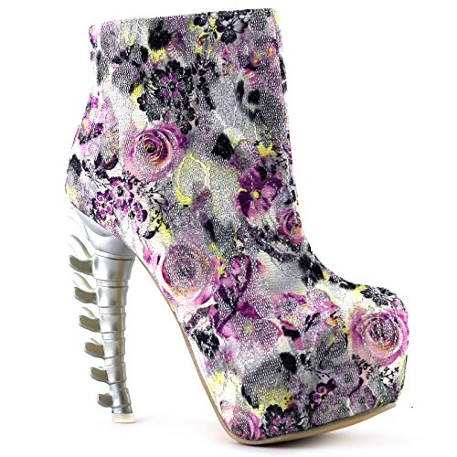Show Story Silver Lace Skull Zip High-top Bone High Heel Hidden Platform Ankle Boots,LF40611SV40,8.5US£¬Silver