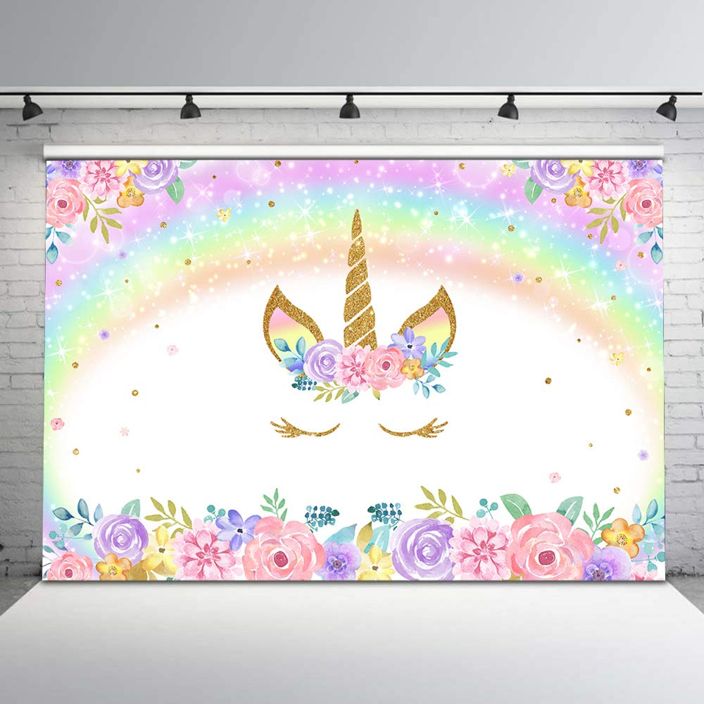 Mehofoto Rainbow Unicorn Backdrop Gold Unicorn Birthday Photo Backdrop 7x5ft Glitter Bubble Pastel Rainbow Floral Photography Background for Children's Birthday Decorations Party Studio Props by Mehofoto