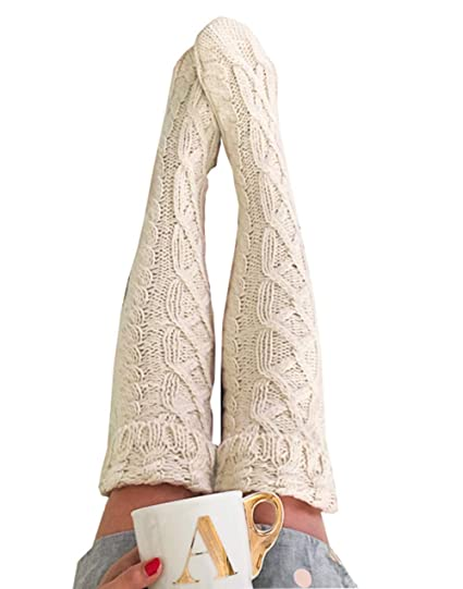 48e1906b40170 Womens Winter Warm Cable Knit Over Knee Long Boot Thigh-High Socks Leggings  (One size, Beige) at Amazon Women's Clothing store: