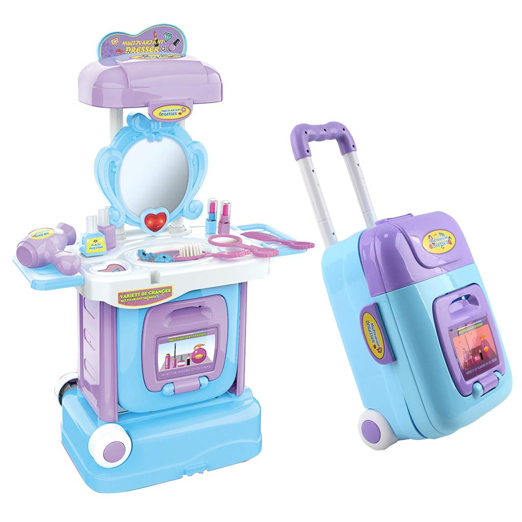 Sallymonday Imported 2 in 1 Pretend Play Kids Fantasy Vanity Table & Suitcase Beauty Play Set with Fashion & Makeup Accessories Makeup Kit for Girls Age 2+ by Sallymonday