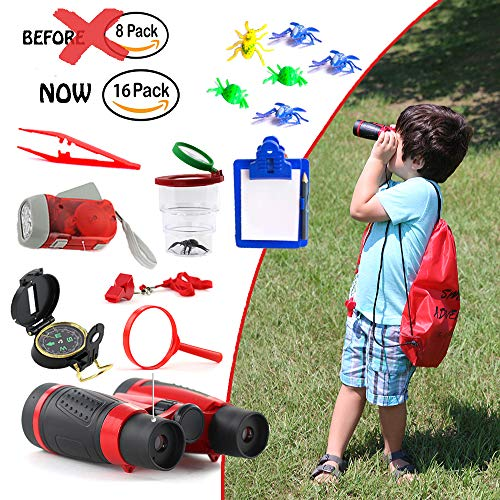 16in 1 Flash - 16 in 1 Outdoor Exploration Kit - Children's Toy Binoculars Set for Kids - Flashlight, Compass, Whistle, Magnifying Glass and more. Kids Set for Camping, Hunting, Hiking & Bird Watching. Pretend Play