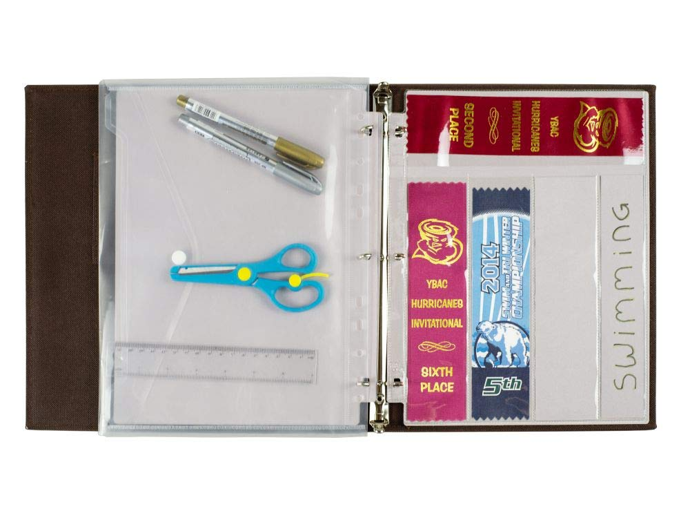 Award Ribbon BINDER Organizer Album COMPLETE SET with BINDER,15 SHEETS and BONUS GIFTS ! Store Gymnastics, Track and Field, Soccer, dog shows and many more Award Ribbons neatly by GiftKoncepts