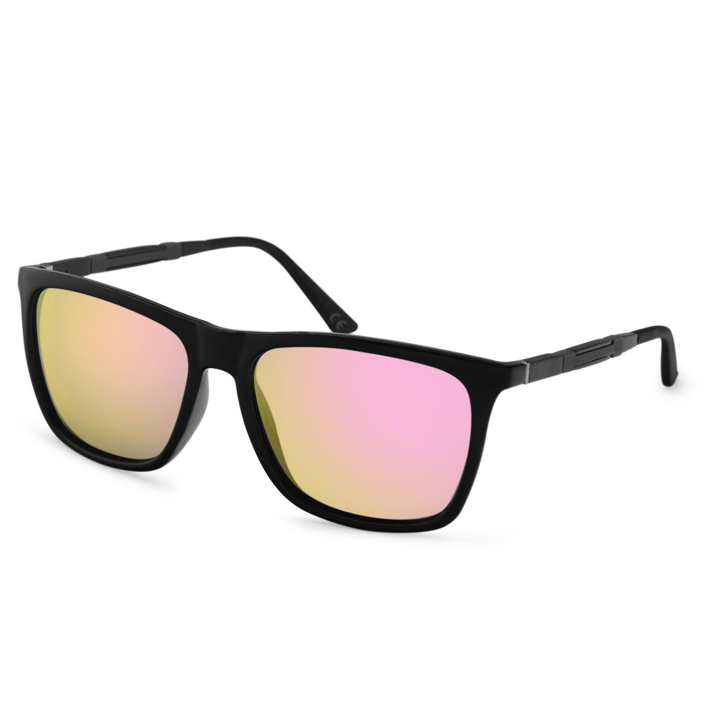 5c28ae2c34 AMZTM Gafas de Sol Polarizadas Wayfarer para Mujer Hombre Moda Espejos  Reflejantes Gafas de Caminante Protección