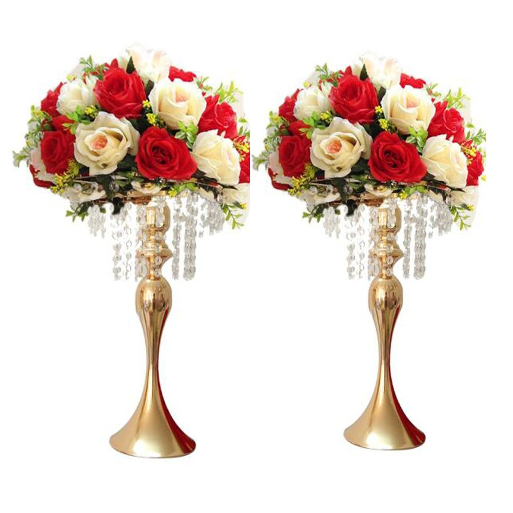LANLONG 2pcs 43cm(17'') Tall Wedding Table Centerpiece, Candle Holder, Candlestick, Road Lead Flower Stand, Wedding Home Christmas Decoration (Gold, 17'')