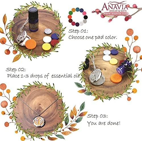 Anavia Pineapple Aromatherapy Necklace and Slider Bracelet with Bottle of Essential Oil Gift Set with Gift Box