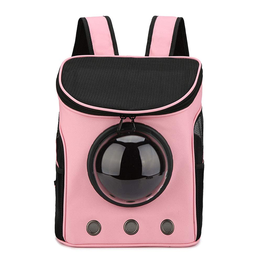 Pink Dog Space Bag Pet Backpack Cat Travel Bag Portable Carrier Shoulders Bag Puppy Transparent Breathable Sightseeing Backpacks Outdoor,Pink