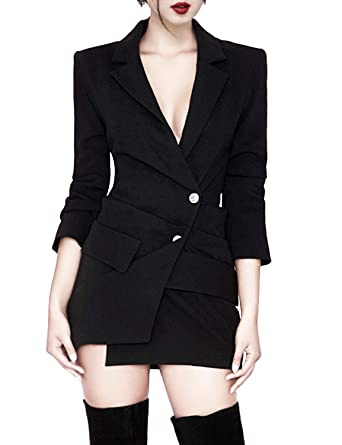 71e3a4a40045 Sunlen Women's V-Neck Black Mini Elegant Blazer Dresses Asymmetrical Hem  SL1BH5828 at Amazon Women's Clothing store: