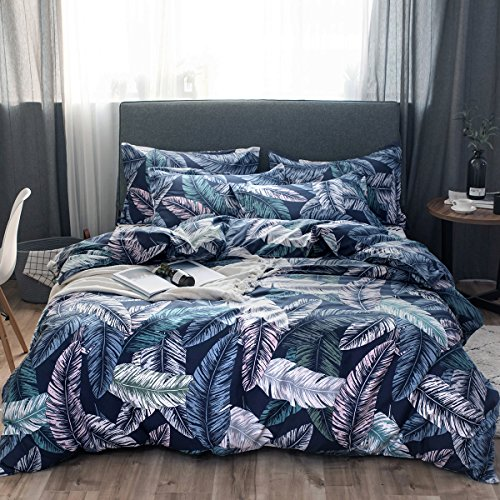 GOOFUN-D36Q Duvet Cover Bedding Set 3pcs Lightweight Microfiber Well Designed 1 Duvet Cover 2 Pillow Shams, Comfortable, Breathable, Soft, Extremely Durable,Full/Queen (Duvet Cover Dimensions)