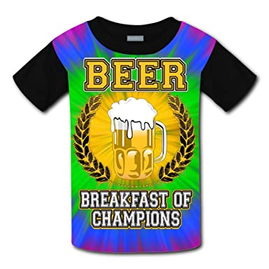8f95b0fbf TFB-88 Boy's Girl's Kid's 3D Printing Beer Breakfast of Champions t Shirts  ...