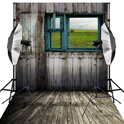 Kooer 5X7ft Photography Backdrops Indoor Wooden Blue Window Sightseeing Landscape Background (Landscape Backdrops)